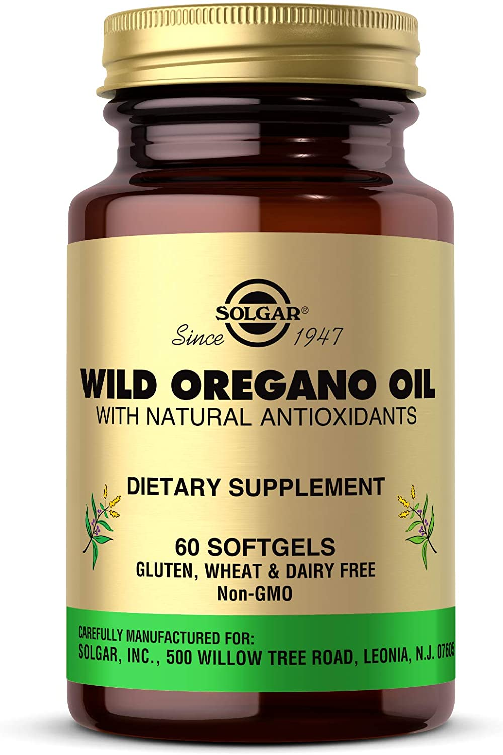 Solgar Wild Oregano Oil, 60 Softgels - High Quality Oregano Oil Concentrate - Immune Support - Includes Natural Antioxidant Phytochemicals - Non GMO, Gluten Free, Dairy Free - 60 Servings: Health & Personal Care