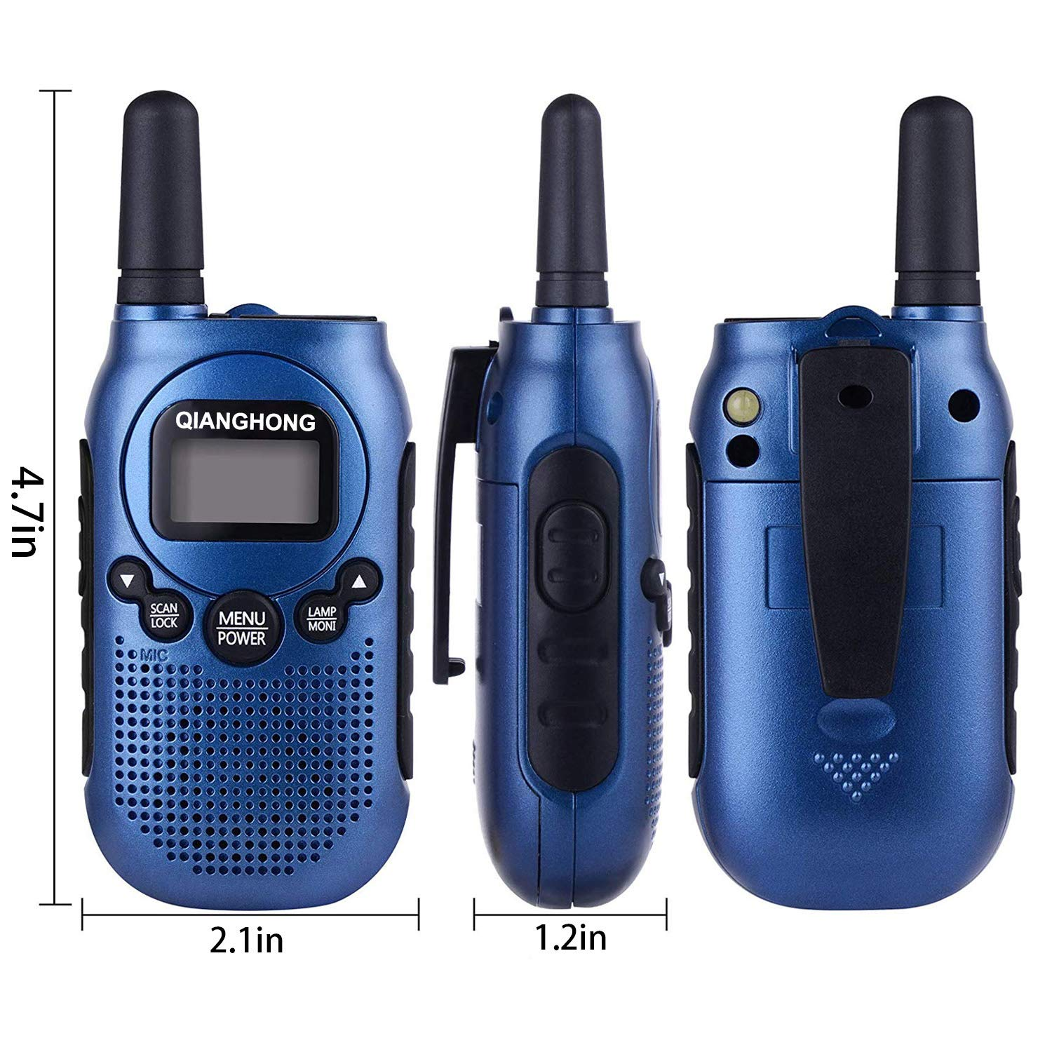 Qianghong Rechargeable Walkie Talkies for Kids Included Li-ion Battery and Charger (Red&Yellow&Blue) by Qianghong (Image #5)