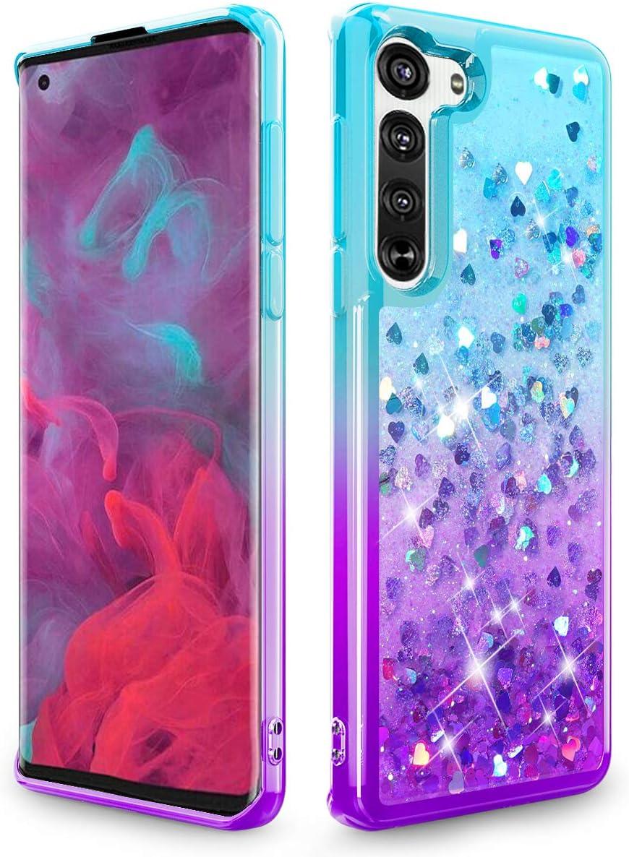Funda Con Glitter Para Motorola Moto Edge 5g azul morado