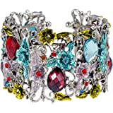 Alilang Antique Inspired Crystal Rhinestone Flower Fields Garden Bracelet Bangle Cuff