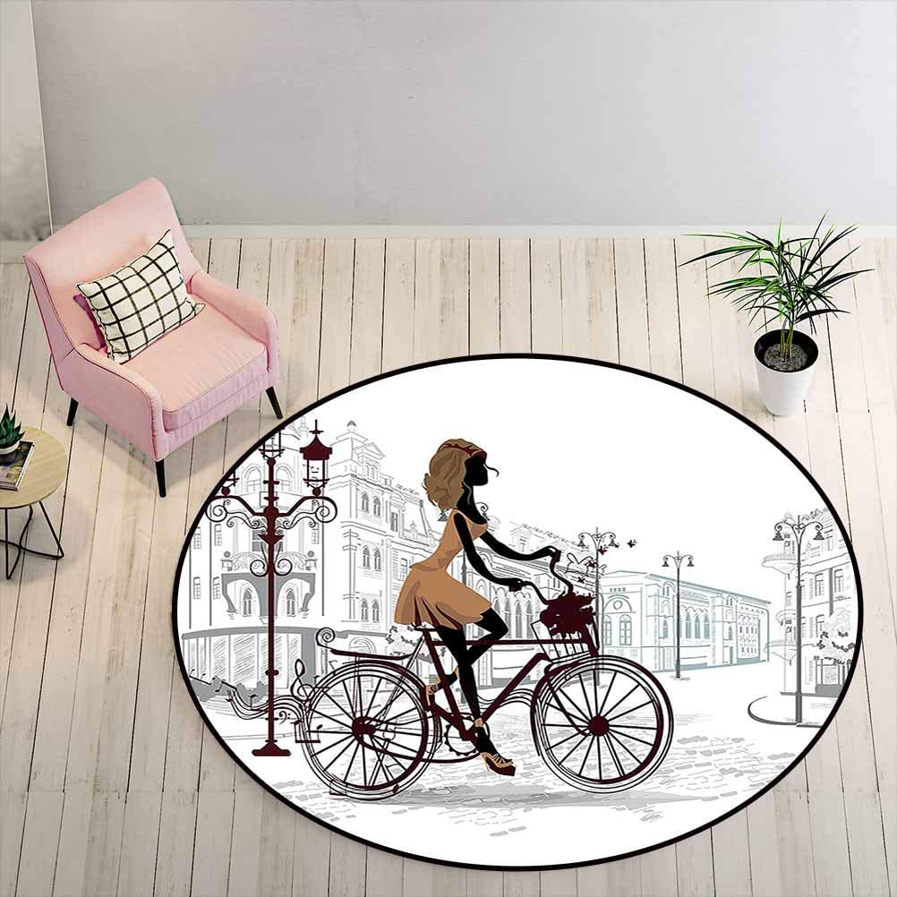Outdoor Rug 4 ft Round - Teen Room Decor Coffee Table Rug Young Girl in Paris Streets with Bike French Display, Chestnut and Light Brown Pearl