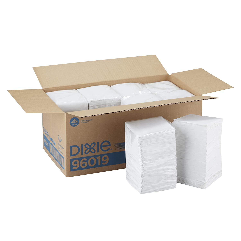 Dixie 1-Ply Beverage Napkin by GP PRO (Georgia-Pacific), White, 1/4 Fold, 96019, 500 Napkins Per Pack, 8 Packs Per Case, 4000ct