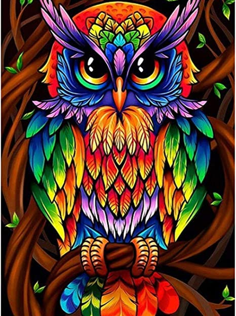 Diamond Painting Kits for Kids,5D DIY Diamond Painting by Number Kits for Home Decor Owl 11.8x15.7Inch