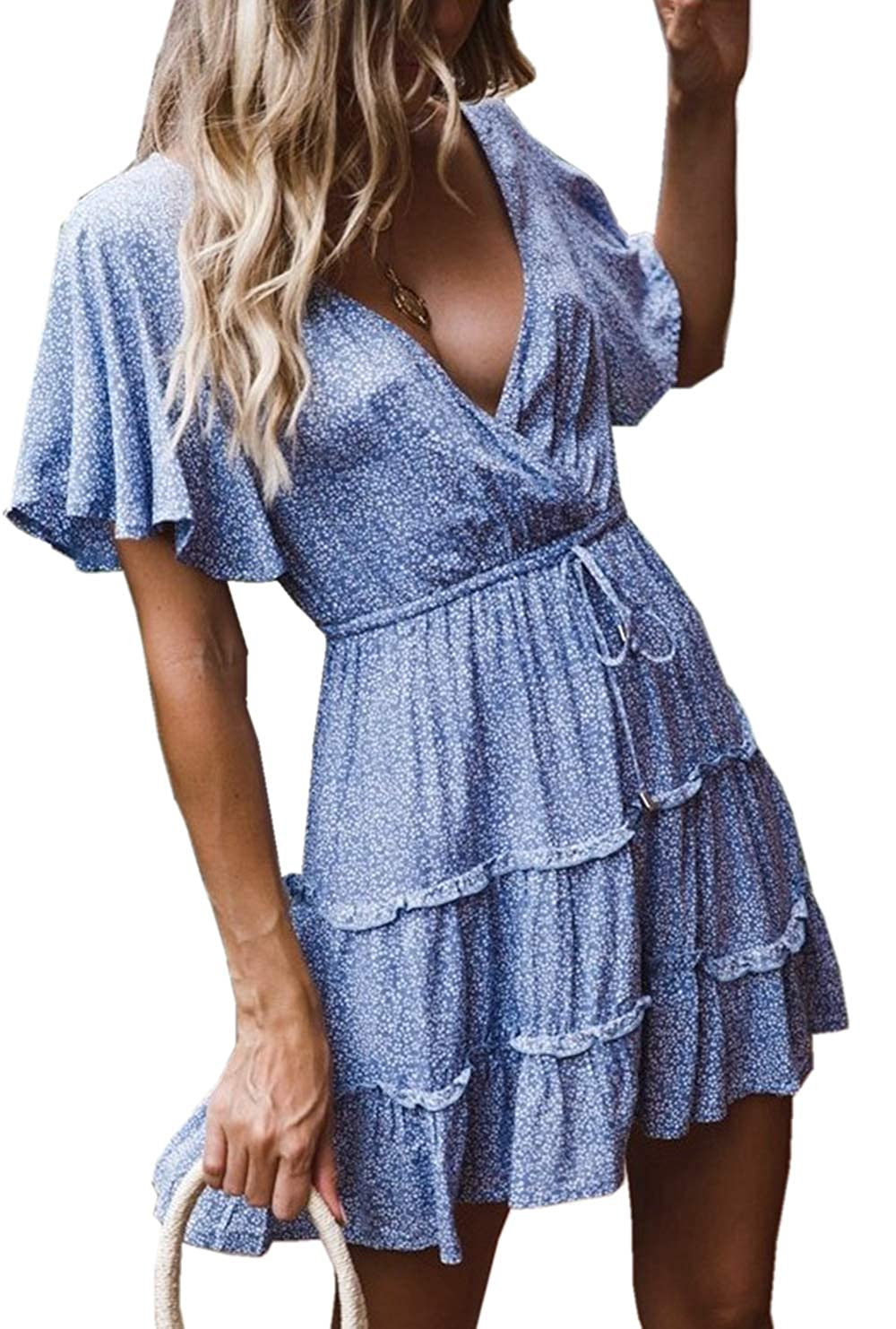 ZIYYOOHY Damen Blusenkleid Mini Polka Kurzarm V Ausschnitt Sommerkleider Strandkleid
