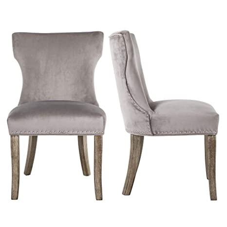 Incredible Dagonhil Dining Chair Button Tufted Armless Chair Upholstered Accent Chair With Brown Solid Wooden Legs Nailed Trim Set Of 2 Gray Pdpeps Interior Chair Design Pdpepsorg