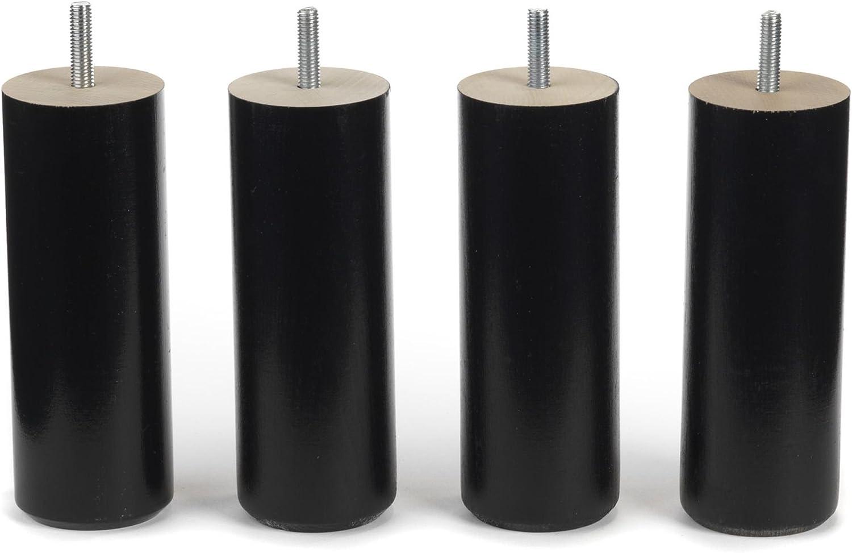 Wood Selection - Lote de 4 Patas para somier, 15 cm de Altura, Color Negro