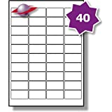 40 Per Page/Sheet, 5 Sheets (200 Sticky Labels), Label Planet® White Blank Matt Self-Adhesive A4 Address Addressing Shipping Stickers, Printable With Laser or Inkjet Printer, UK LP40/45, 45.7 x 25.4 MM, FOR JAM FREE PRINTING, Mail Labelling