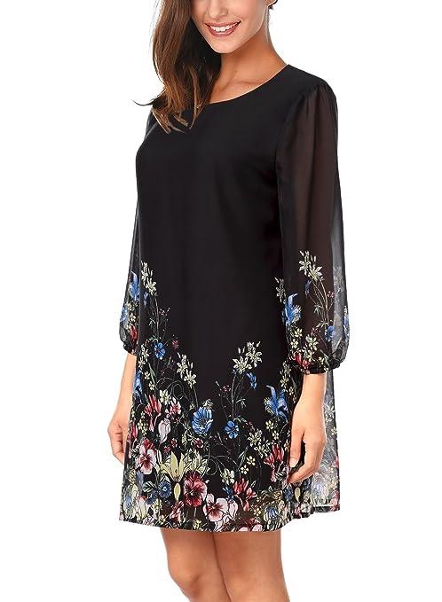DJT-Vestido para Mujer de Chifon con Estampado Floral: Amazon.es: Ropa y accesorios