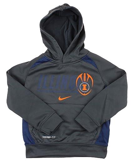 9261bfb34b8 Amazon.com : Nike NCAA Little Boys Kids Illinois Fighting Illini Athletic  Thermafit Pullover Hoodie, Grey : Clothing