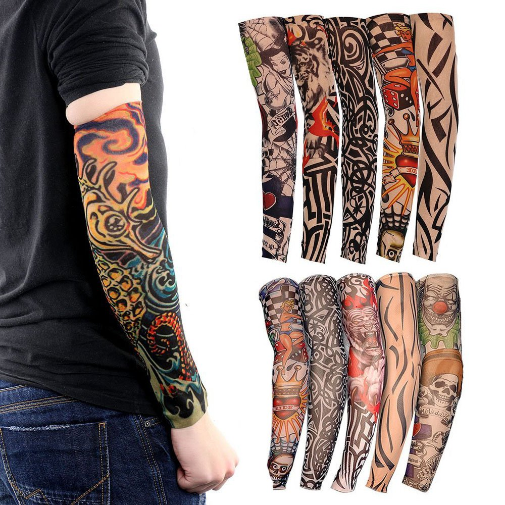 Tattoo Arm Sleeves 10 Pack Cool Body Arts Fake Temporary Tattoo Cover Halloween Costume Uv Sun Block Protection For Camping Hiking Exercise Sports