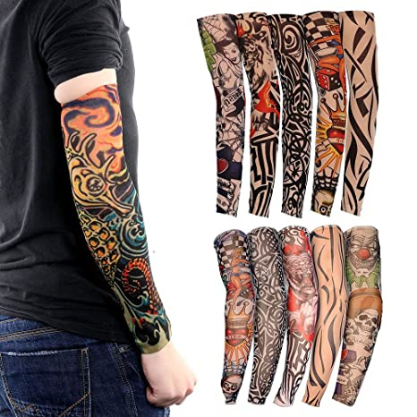 Tattoo Arm Sleeves, 10 Pack Cool Body Arts Fake Temporary Tattoo Cover  Halloween Costume UV Sun Block Protection for Camping Hiking Exercise  Sports