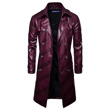WSLCN Homme Longue Trench-Coat PU Cuir Manteau À Double Boutonnage Casual  Parka Outdoor Printemps 352387c56416