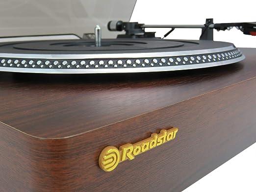 Roadstar TT-385BT-T Tocadiscos - Tocadiscos (Tocadiscos de tracción Directa, Automático, Madera, Botones, SD, Stop automático)