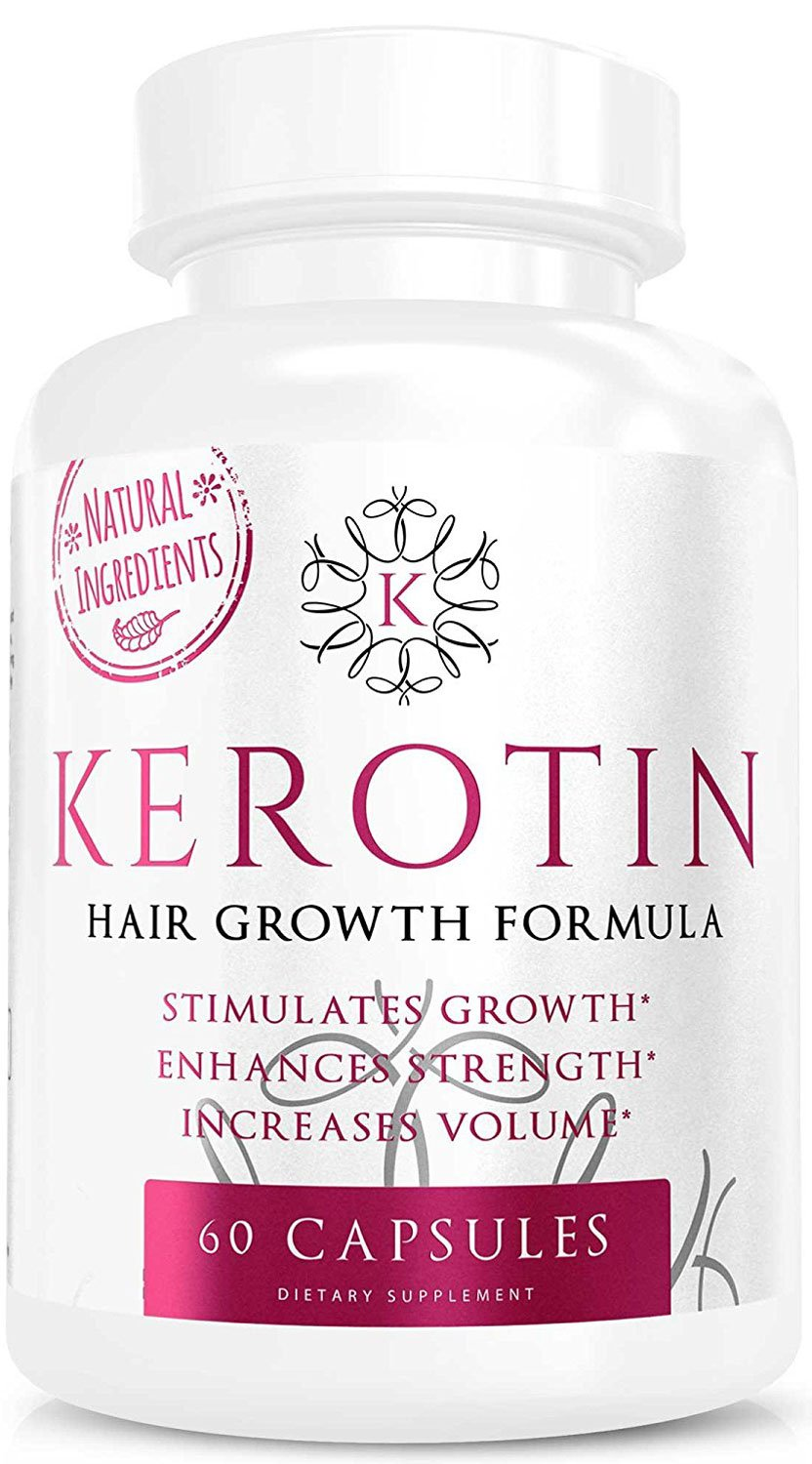Kerotin Hair Growth Vitamins for Natural Longer, Stronger, Healthier Hair - Enriched with Biotin, Vitamin B, Folic Acid - Promotes Frizz-Free, Keratin Rich Hair for All Hair Types - 60 Capsules (1) by K Kerotin