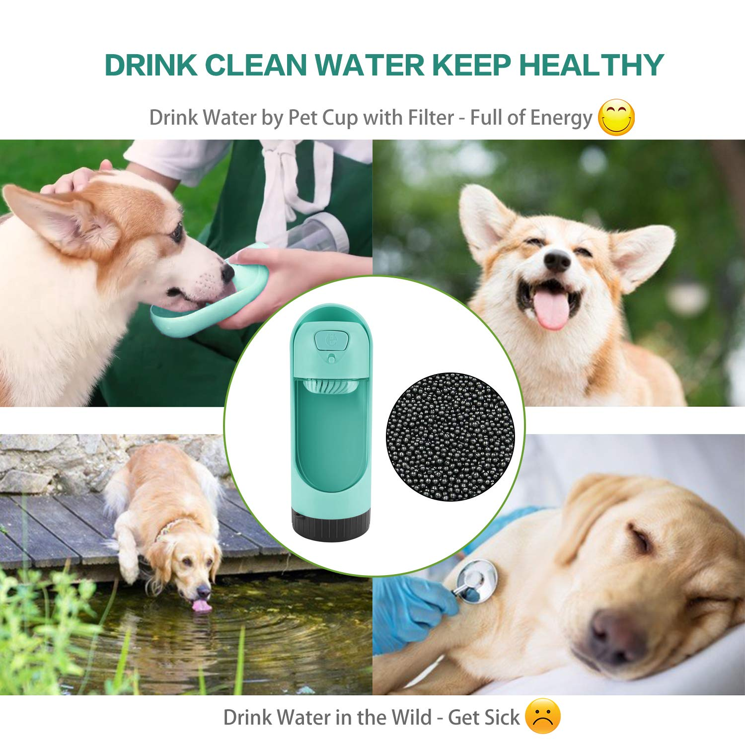 Dog Water Bottle, Leak Proof Drinking Bottle with Activated Carbon Filter, Portable Pet Travel Water Drink Cup Collapsible Water Dispenser Feeder, Safe and Durable for Small Cat Large Dog Outdoor
