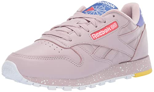 b890904034d Reebok Women's Classic Leather Sneaker, Ashen Lilac Fog/Cobalt/Rose, ...