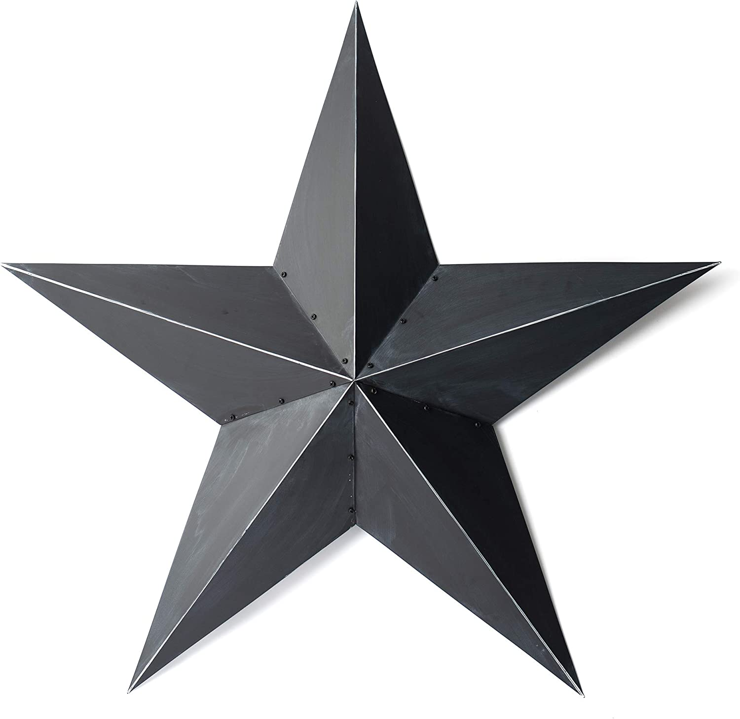 """BLACK METAL BARN STAR DECOR -48"""" large indoor outdoor hanging rustic country house wall decorations. This Texas sized primitive patriotic barnstar is made with tough metal. Great Christmas stars decor"""