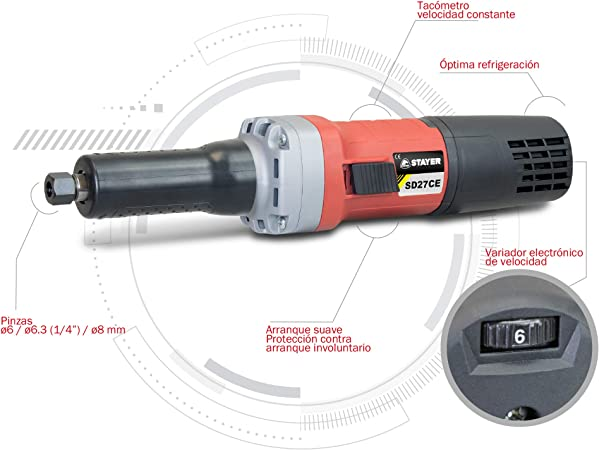 Geradschleifer A Konstante Geschwindigkeit mit Regler elektronisch der VELOCITA 750/W Stayer sd27ce