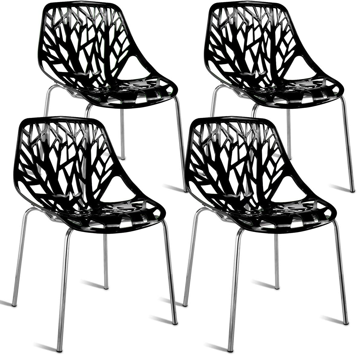 Giantex Set of 4 Modern Dining Chairs Birds Nest Set Modern Stackable Plastic Hollow-Out Geometric Style Furniture Outdoor Indoor Dining Side Chair (4 Packs, Black)