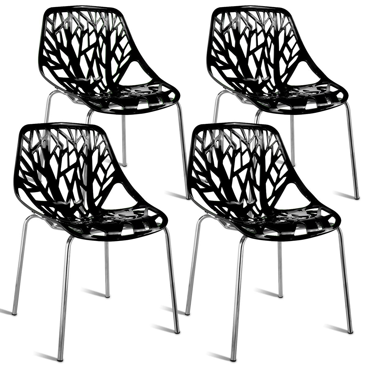 Giantex Set of 4 Modern Dining Chairs Birds Nest Set Modern Stackable Plastic Hollow-Out Geometric Style Furniture Outdoor Indoor Dining Side Chair (4 Packs, Black) by Giantex