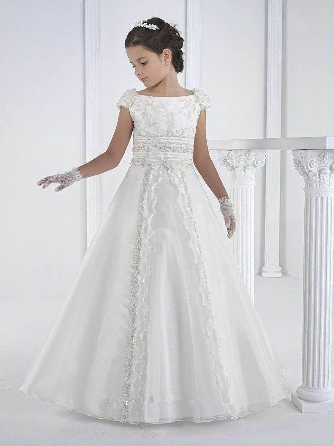 Amazon.com: MissProm White Kids First Communion Dress Long Flower ...