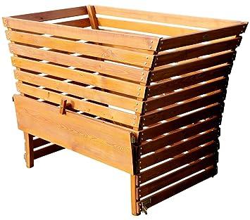 Gran Madera compostador 1140 litros de capacidad muy Lil de varilla Alerce 145 x 80 cm