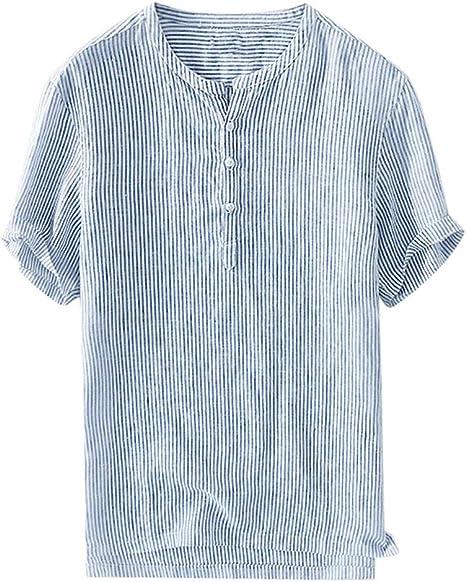 HEATLE Camisetas de algodón y Lino para Hombre, diseño de Rayas, Cuello Redondo, Manga Corta, Casual, de Verano: Amazon.es: Ropa y accesorios
