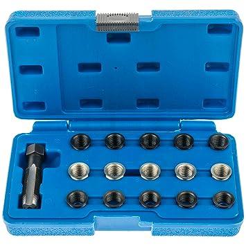 A Juego de 62269 Bujía para reparación de roscas M14 x 1,25 mm con 15 Insertos + Schneider