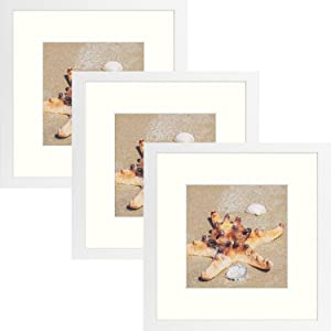 Golden State Art 12x12 Frame with Mat, Displays 8x8 Square Picture or 12 x 12 Gallery Wall Frame for 30X30 cm Diamond Paintings Prints Photos (White, 3-Pack)