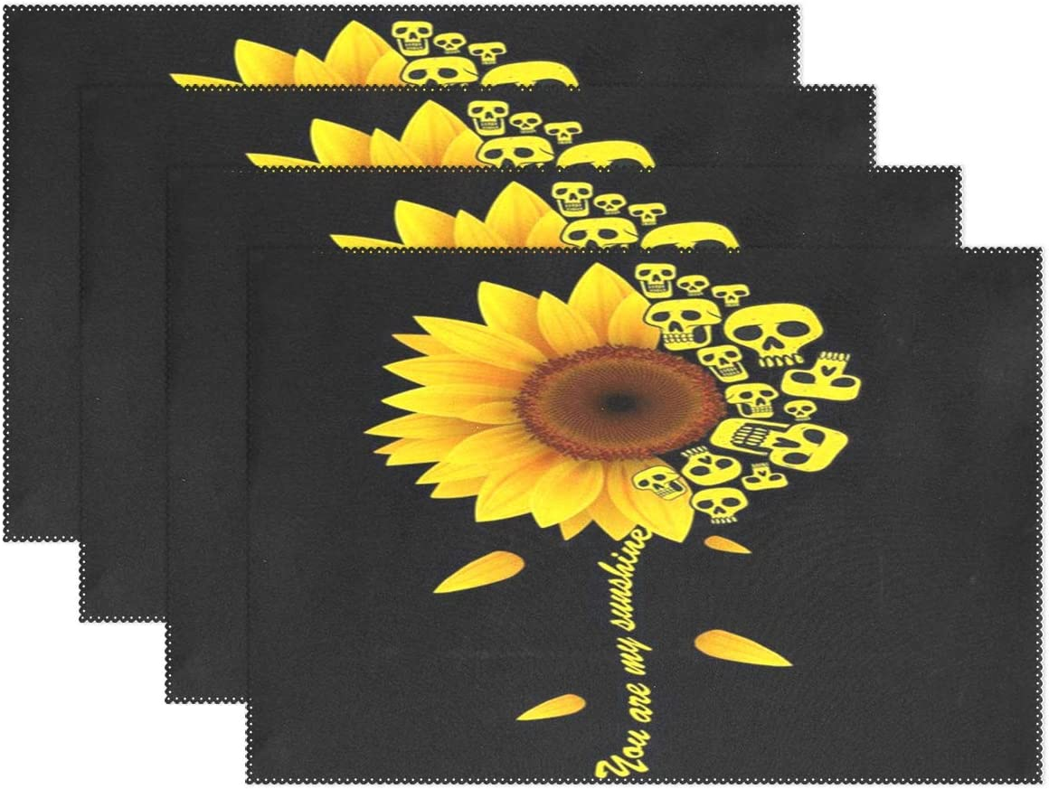 visesunny Sunshine Sunflower Skull Placemat Table Mat Desktop Decoration Placemats Set of 6 Non Slip Stain Heat Resistant for Dining Home Kitchen Indoor 12x18 in