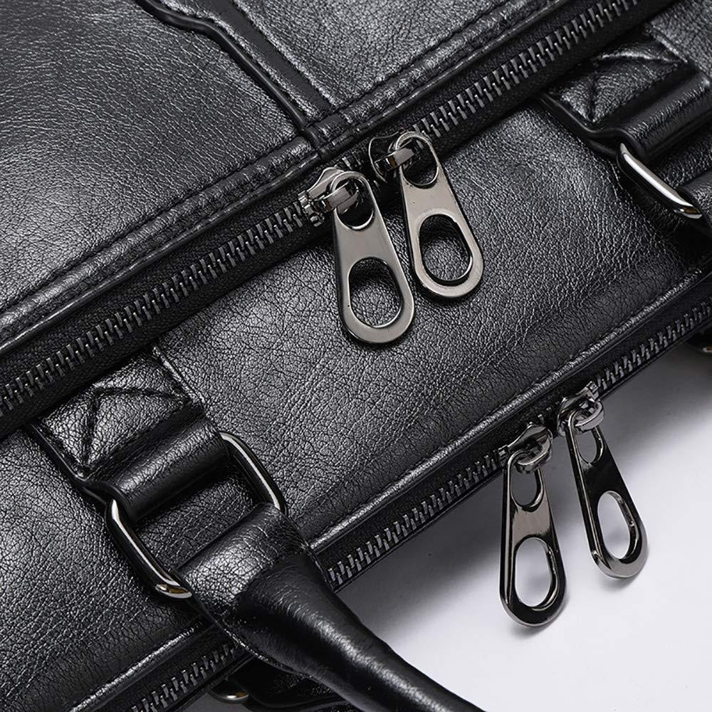 MIJNUX Mens Business Black Classic Bag PU Leather Briefcase Mens Tote Bag Fashion Quality Male Business Laptop Bag