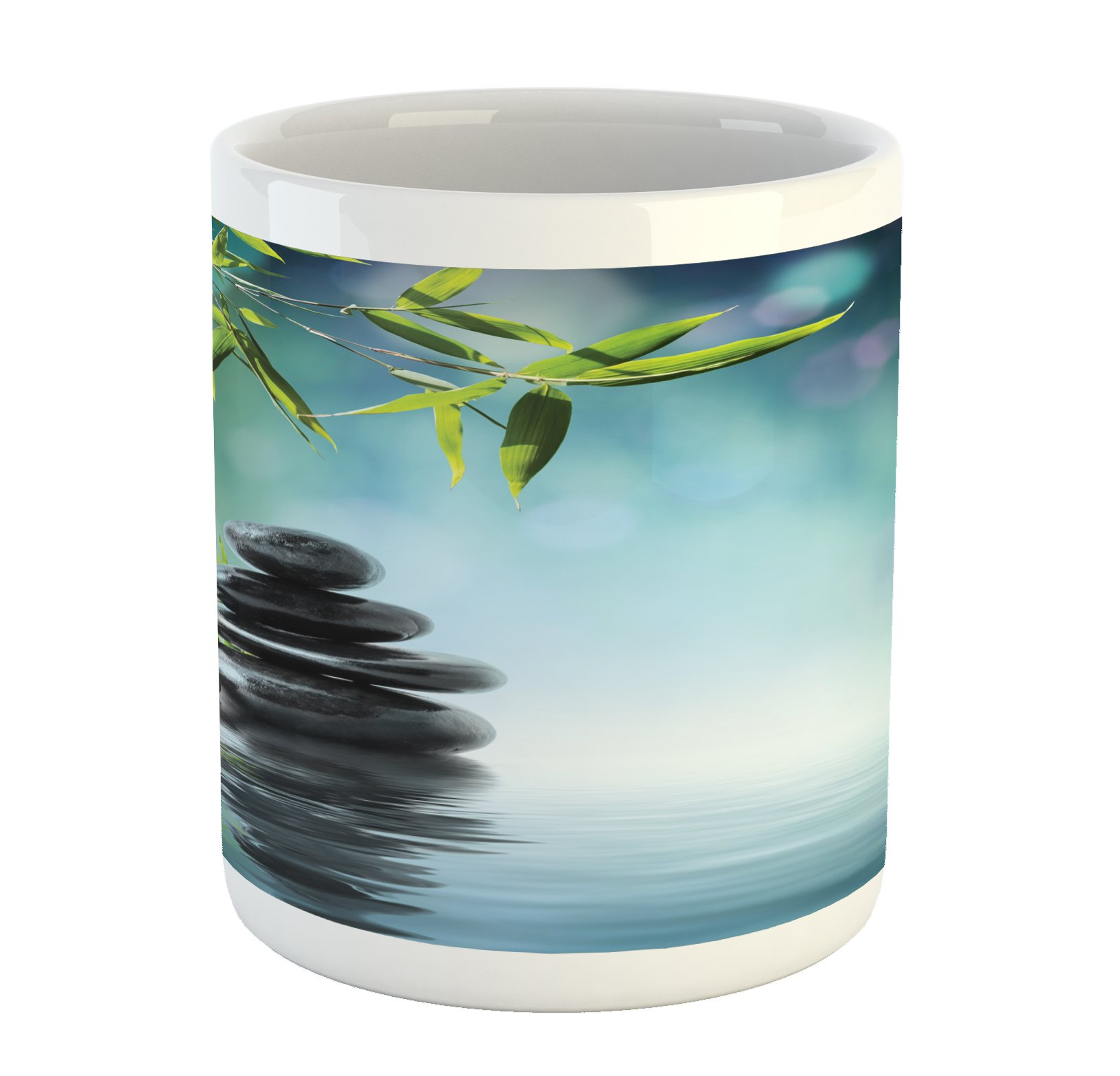 Ambesonne Zen Garden Mug, Pink Flower Spa Stones and Bamboo Tree on the Water Relaxation Theraphy Peace, Printed Ceramic Coffee Mug Water Tea Drinks Cup, Multicolor