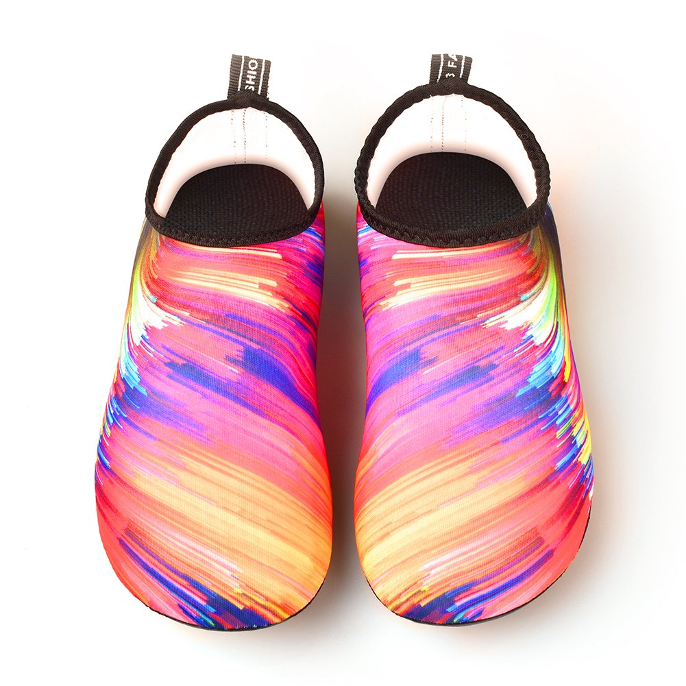 JNDDFAC Men Women Water Shoes Quick Dry Aqua Socks Barefoot Skin Beach Shoes for Swim Yoga Surf-Colorful (S(Women:7-8/Men:6-6.5), Colorful) by JNDDFAC (Image #2)