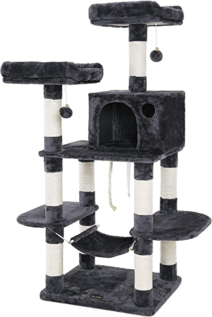 Amazon Com Feandrea Multi Level Cat Tree For Big Cats Stable Cat Tower Gray Upct85g Pet Supplies