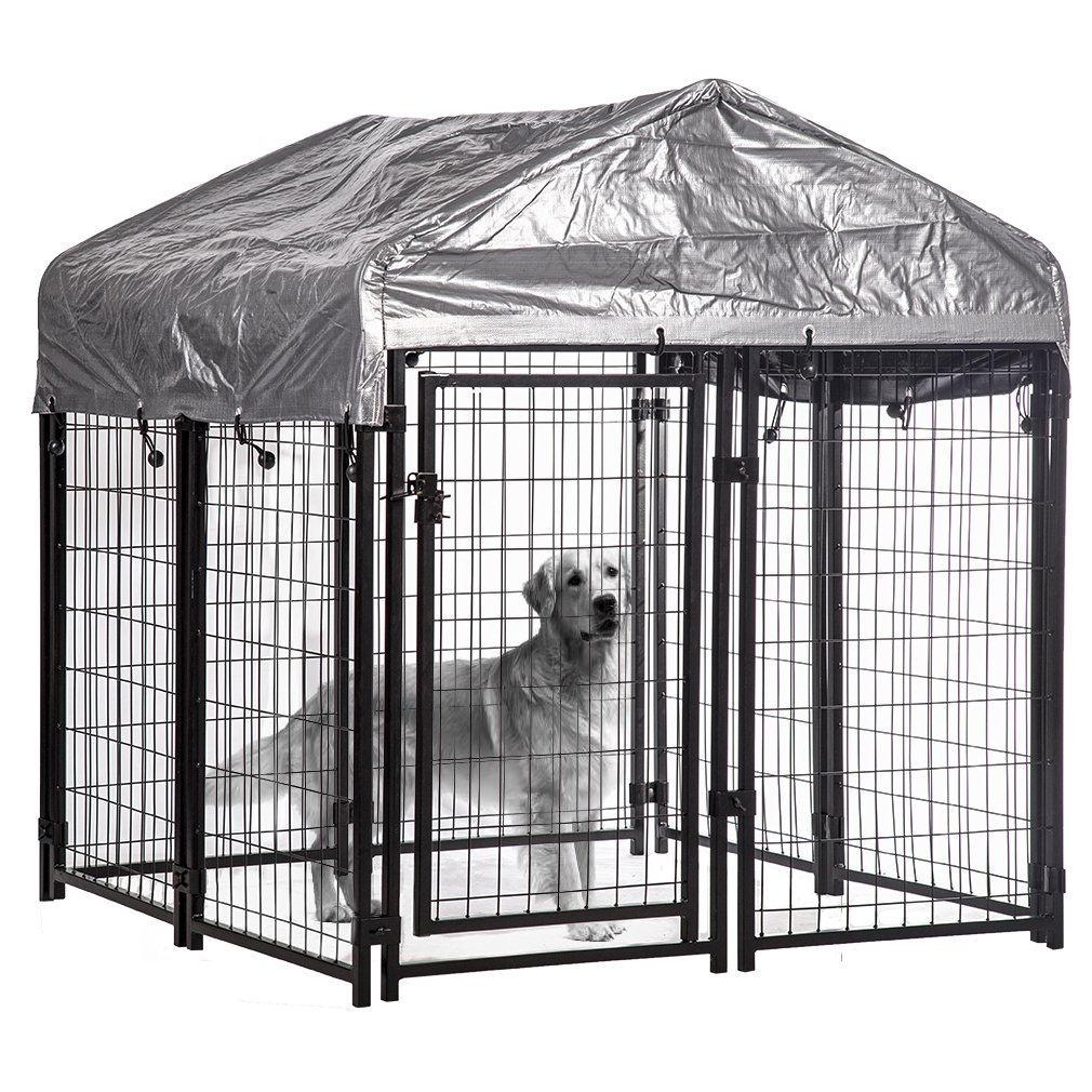 Swell Details About Welded Heavy Duty Outdoor Dog Kennel Run Cage Pen House W Water Resistant Cover Interior Design Ideas Ghosoteloinfo