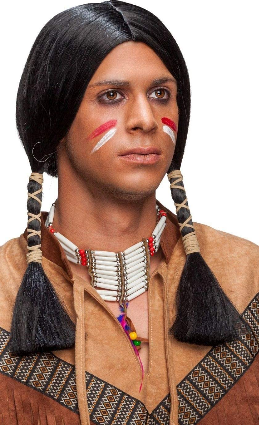 Mens Black Native American Indian Wig Wild West Cowboy Fancy Dress Costume Outfit Accessory