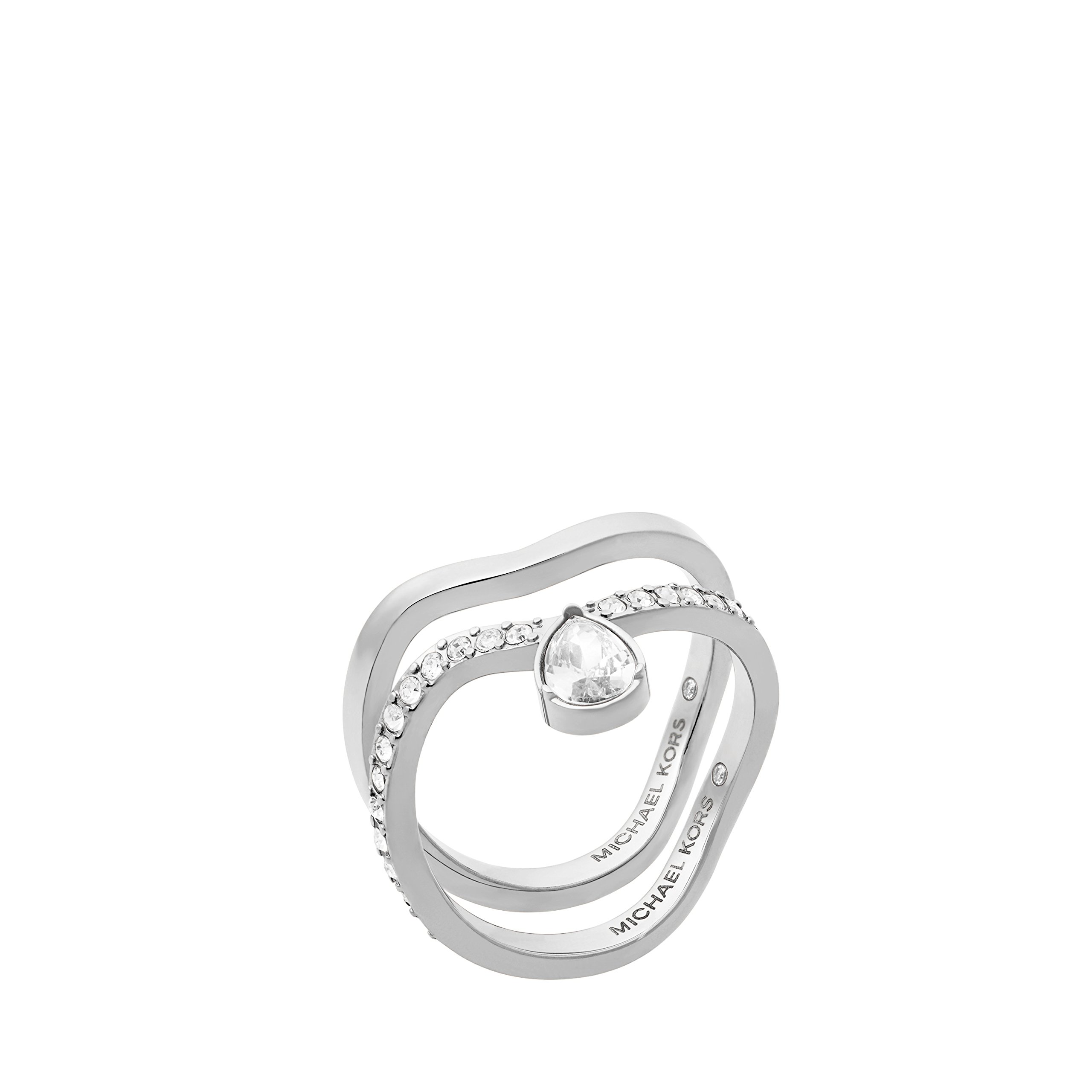 Michael Kors Womens Silver-Tone Ring Set, 7