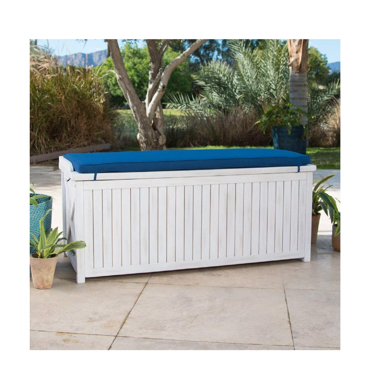 Home Improvements Coastal White Wash Finish Eucalyptus Wood Deck Storage Box Patio Storage Bench With Blue Cushion Outdoor Storage