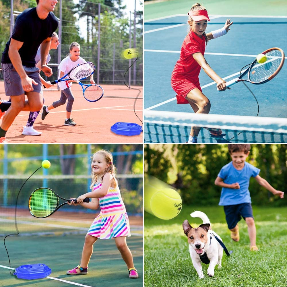 Blue meidong/Tennis/Trainer/Rebound/Baseboard with 3/Long Rope Balls/Great for Singles/Training Self-Study/Practice,/Tennis/Training/Tools/for/Kids/Adults/Beginners/