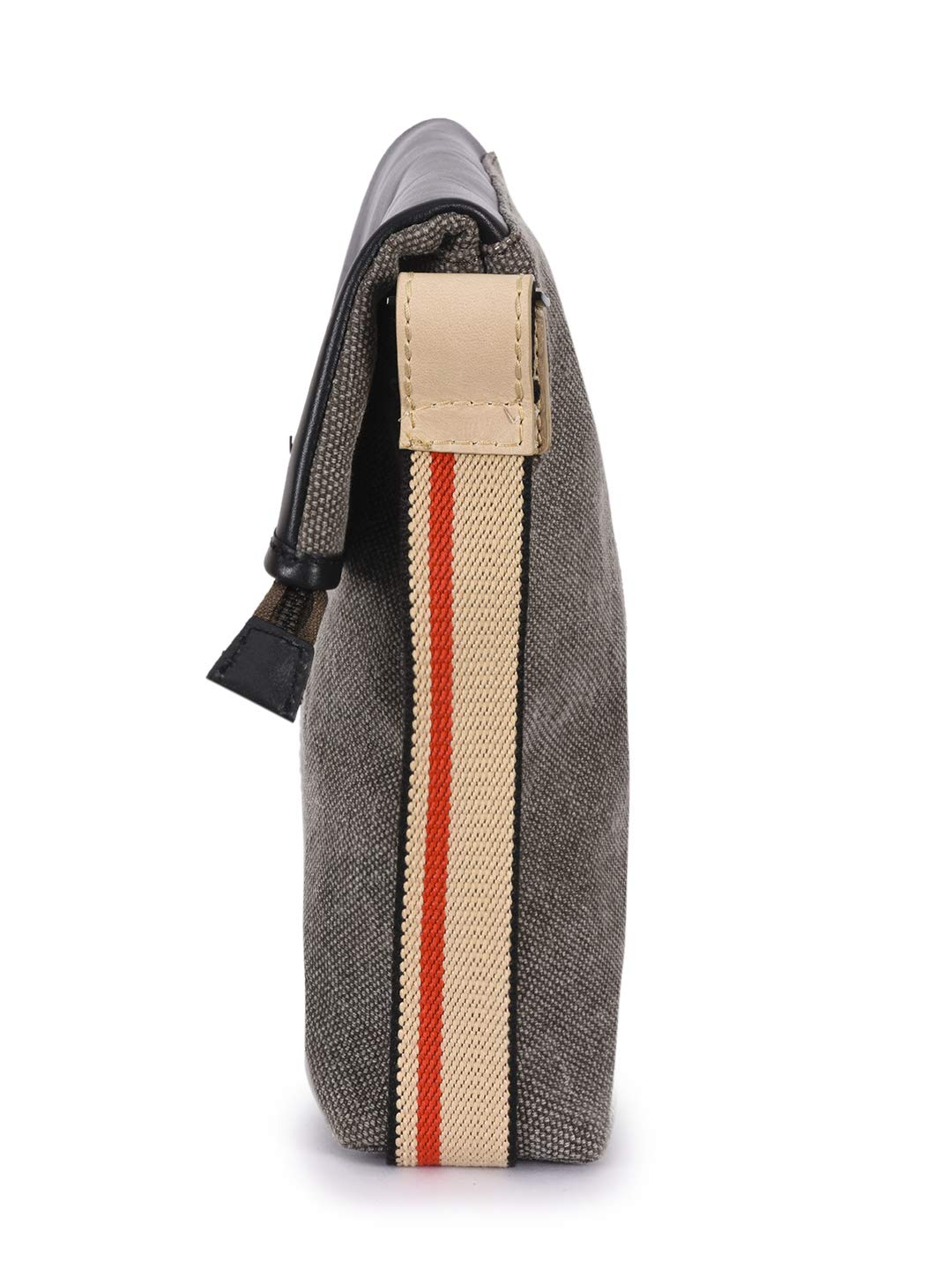 Phive Rivers Mens Leather and Canvas Multicolor Messenger Bag