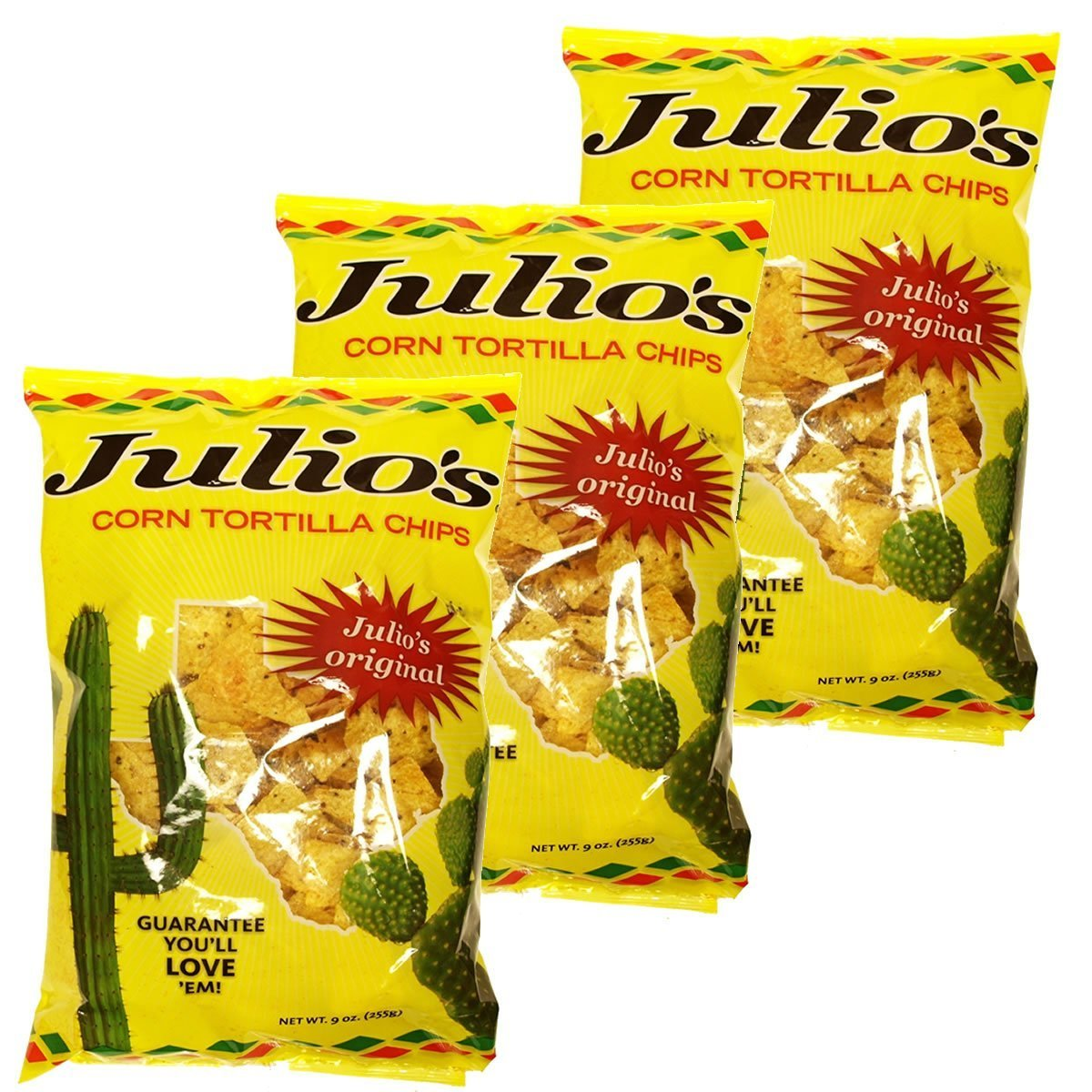Julio's Corn Tortilla Chips - Three 9 oz Bags - Chips Covered In Julio's Seasoning - Perfect For Nachos - Great Tex-Mex Taste