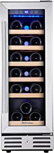 Kalamera Mini Fridge 18 Bottle - 12 inch Wine Cooler Refrigerator, Built-in or Freestanding, with Stainless Steel & Double-Layer Tempered Glass Door, and Temperature Memory Function Wine Fridge
