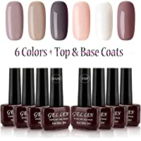 Gelllen Gel Nail Polish Set - 6 Colors With Top Coat Base Coat, Dusty Nude Shade Series Home Gel Manicure Set