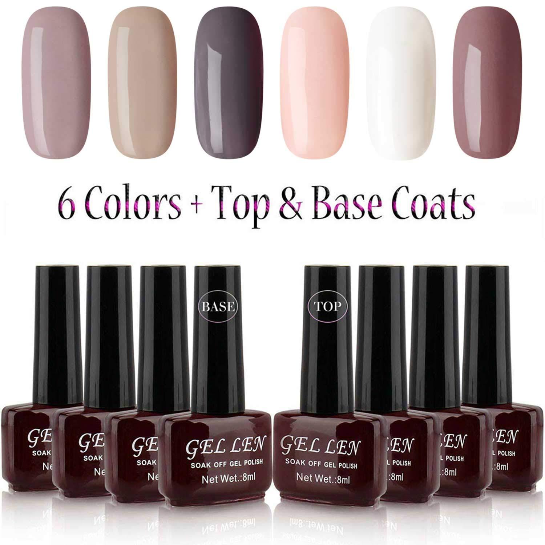 Gelllen Gel Polish Set - 6 Colors With Top Coat Base Coat, Khaki Brown Shade Series Home Gel Manicure Set by Gellen