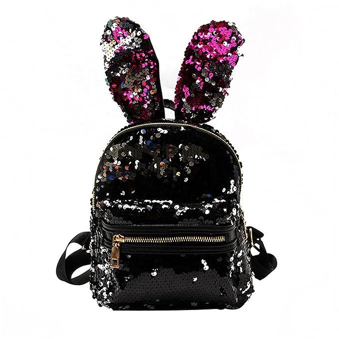 bff94b086f35 Bling Sequins Backpack Cute Big Rabbit Ears Double Shoulder Bag Women Mini Backpack  Children Girls Travel