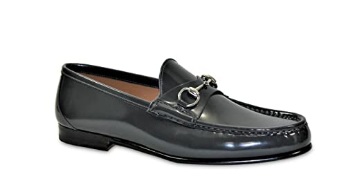 57a2bad7f8b Image Unavailable. Image not available for. Colour  Gucci Men s Dark Gray  Bushed Leather Horsebit Loafers Shoes ...