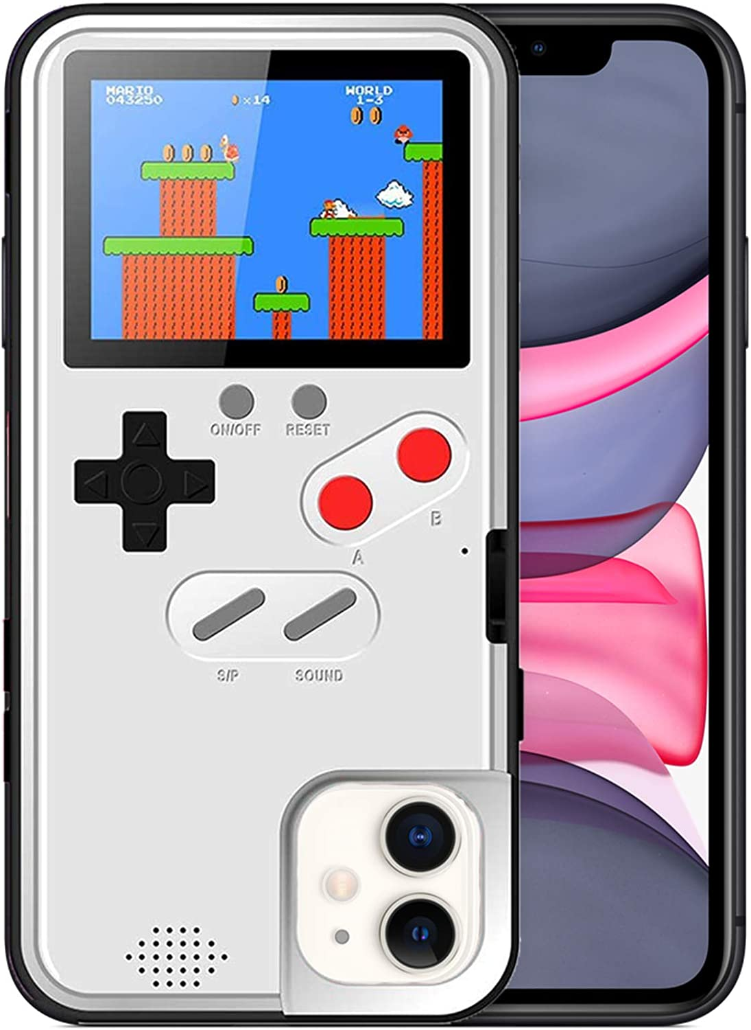 Gameboy Case for iPhone XR, Chu9 Retro 3DShockproofGameboy Cover Case with 36 Classic Games, Handheld Color Screen Playable Video Game Console Case for iPhone (White,iPhone XR)