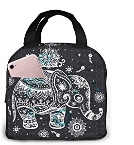 Indian African Lotus Ethnic Elephant Lunch Bag Insulated Lunch Box Waterproof Meal Prep Cooler Tote For Picnic Camping Work Travel