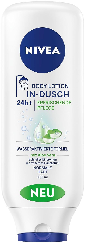 Nivea In-Dusch Body Lotion Strahlend Schön im 2er Pack (2 x 400 ml), Körperlotion mit sanften Peelingperlen für 24h intensive Feuchtigkeit, zur praktischen Anwendung in der Dusche 88407-01000-07