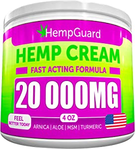 Hemp Pain Relief Cream - 20 000 MG - Made in USA - 4OZ - Relieves Muscle, Joint Pain - Lower Back Pain - Inflammation - Hemp Oil Extract with MSM - EMU Oil - Arnica - Turmeric